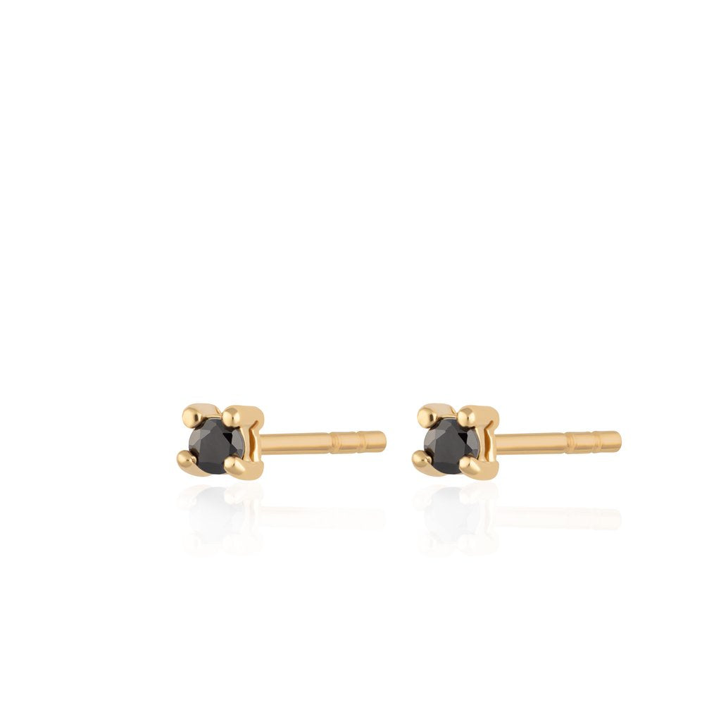 SP Teeny Tiny Studs Gold with Black Stones