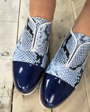 Load image into Gallery viewer, Maria Leon Blue Snakeskin Loafer