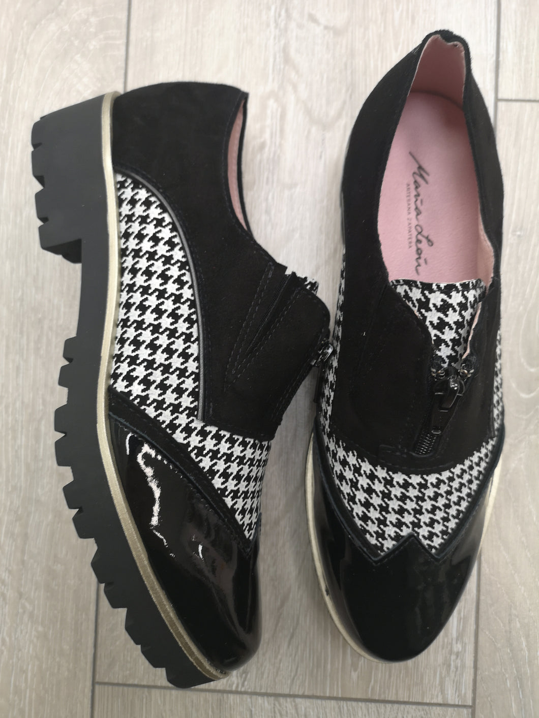 Maria Leon Black Houndstooth Shoes