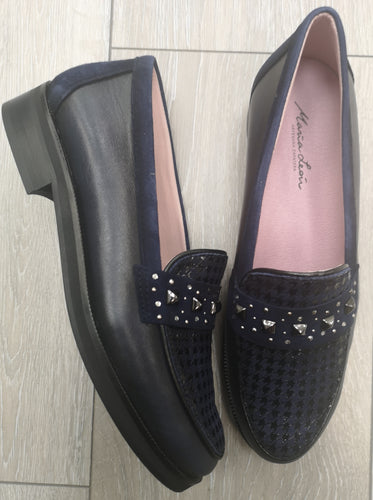 Maria Leon Navy Leather Loafer