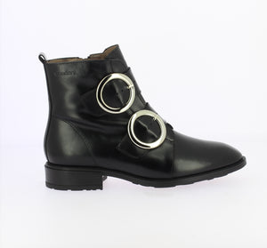 Wonders Double Buckle Boot Black