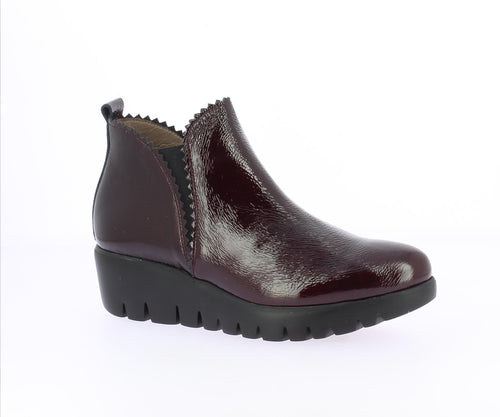 Wonders Wedge Boot Burgundy Patent