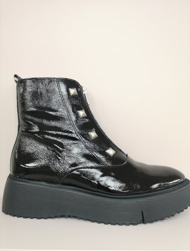 Wonders Flatform Patent Boot Black