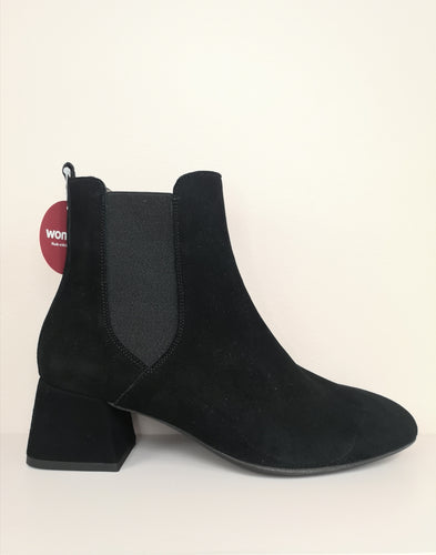 Wonders Simple Ankle Boot Black Suede