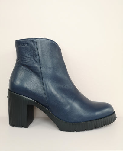 Wonders Soft Platform Navy Ankle Boot