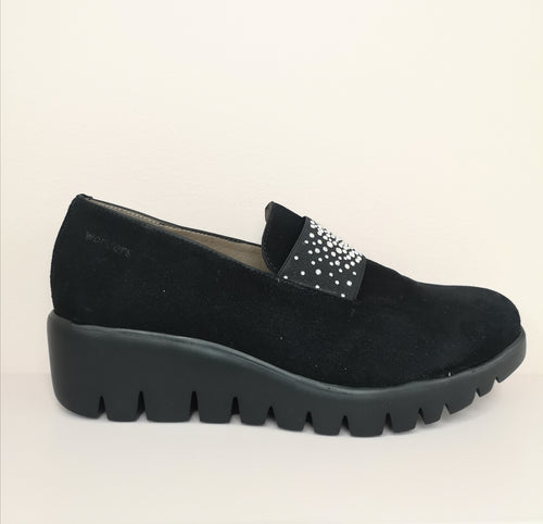 Wonders Wedge Shoe Black Suede