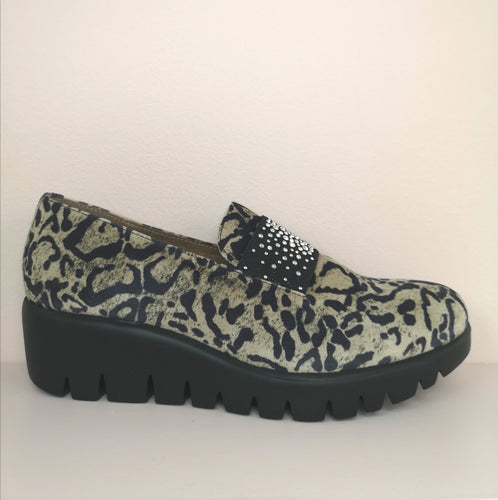 Wonders Wedge Shoe Suede Animal Print
