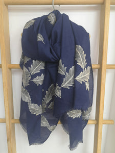 Embroidered Feathers Scarf
