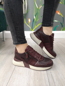 Carmela Leather Trainers Burgundy