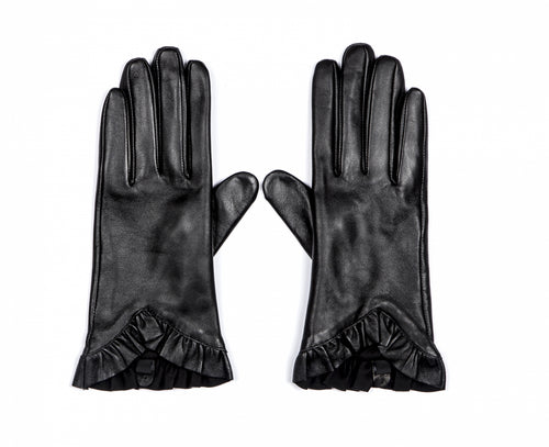 Alice Hannah Leather Ruffle Gloves