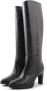 Wonders Long Black Leather Boot