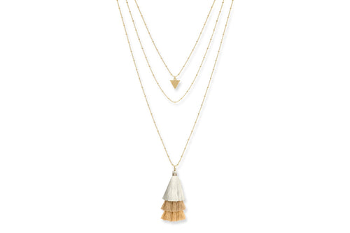 Boho Betty Layered Tassel Necklace Gold