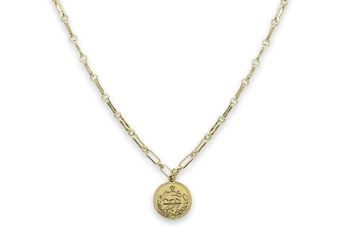 Boho Betty Dewi Gold Cable Chain Necklace with Coin Pendant