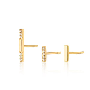 SP Dash Set of 3 Single Stud Earrings