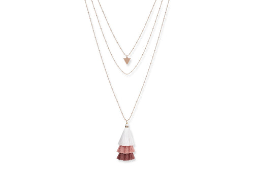 Boho Betty Layered Tassel Necklace Rose Gold