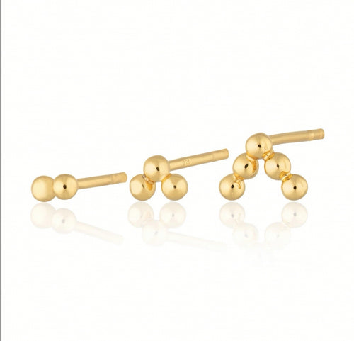 SP Bead Set of 3 Single Stud Earrings