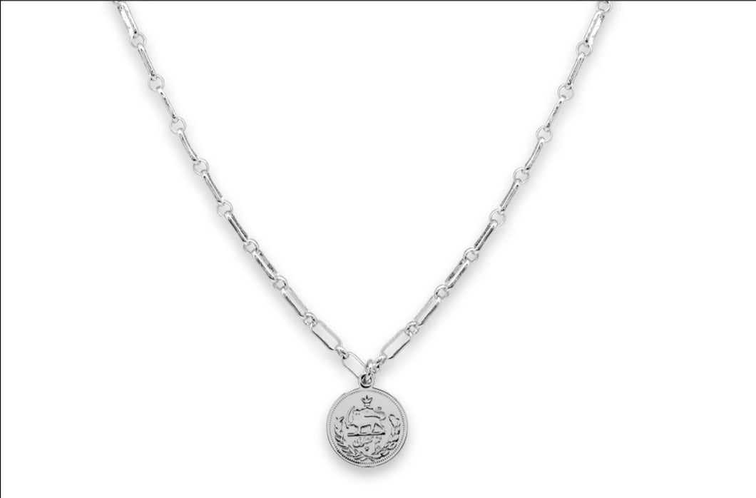 Boho Betty Dewi Silver Cable Chain Necklace with Coin Pendant
