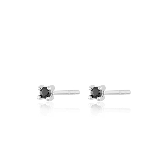 SP Teeny Tiny Studs Silver with Black Stones