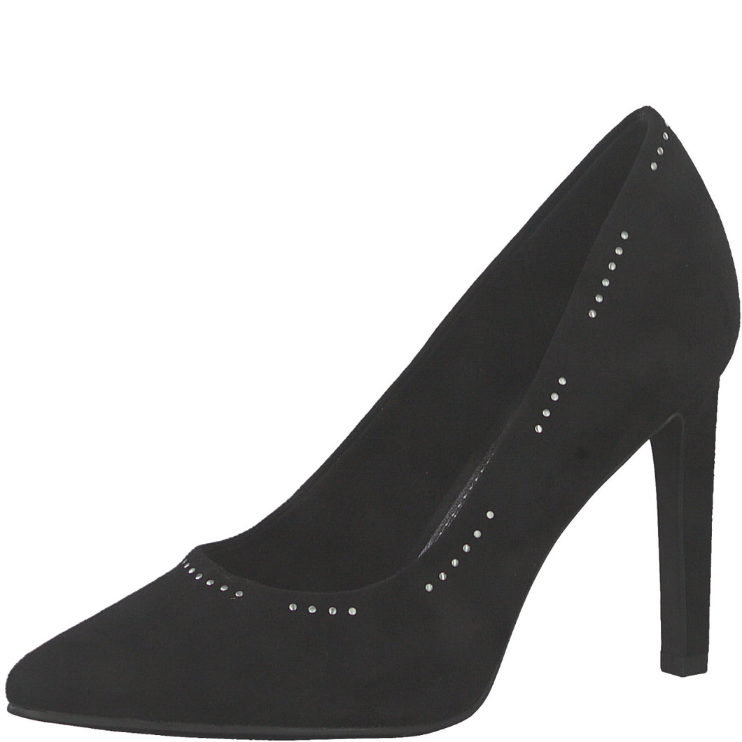 Marco Tozzi Black Stud Court Shoe