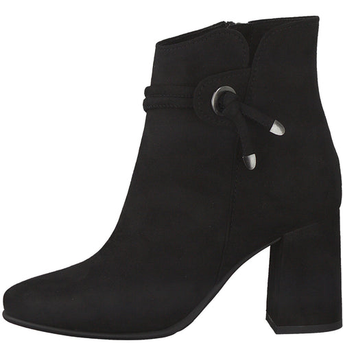 Marco Tozzi Black Suede Ankle Boot