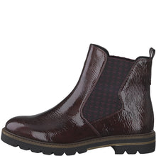 Load image into Gallery viewer, Marco Tozzi Patent Chelsea Boot Burgundy