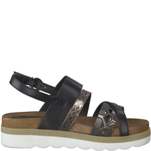 Load image into Gallery viewer, Marco Tozzi Black & Pewter Sandal