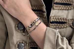 Boho Betty Carimba Black & Gold Gemstone Stretch Bracelet