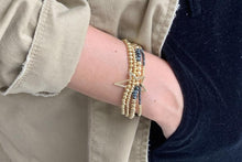 Load image into Gallery viewer, Boho Betty Slide 4 Layered Gold & Black Bracelet Stack with Star Fastener