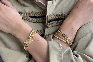 Boho Betty Whistle 4 Layered Gold Bracelet Stack with Star Fastener
