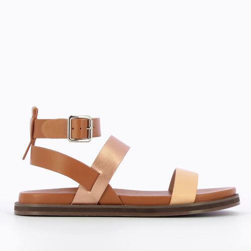 Camel Sandals with Rose Gold & Pale Pink Straps