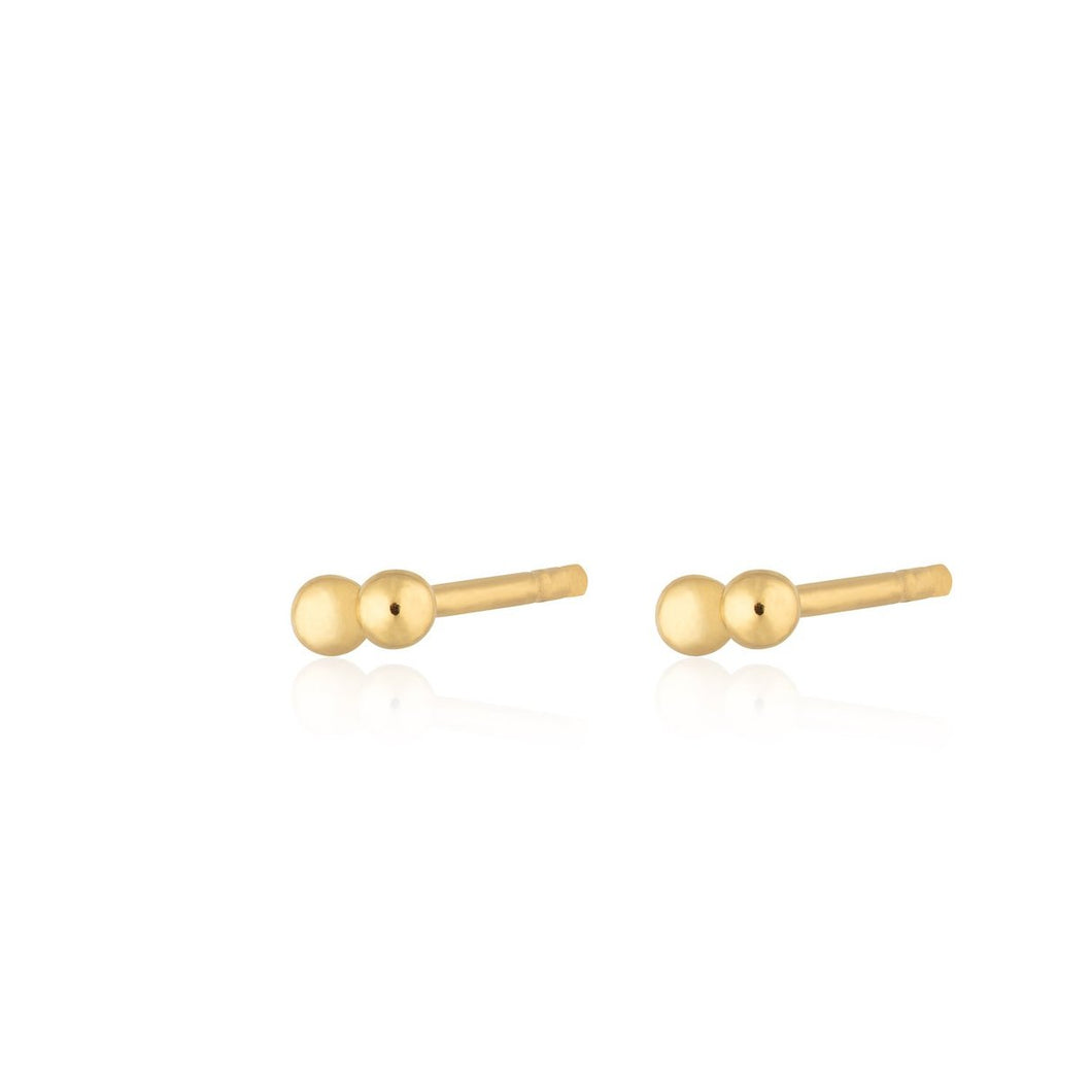 SP Solder Dot 2 Bead Stud Earrings -  Gold