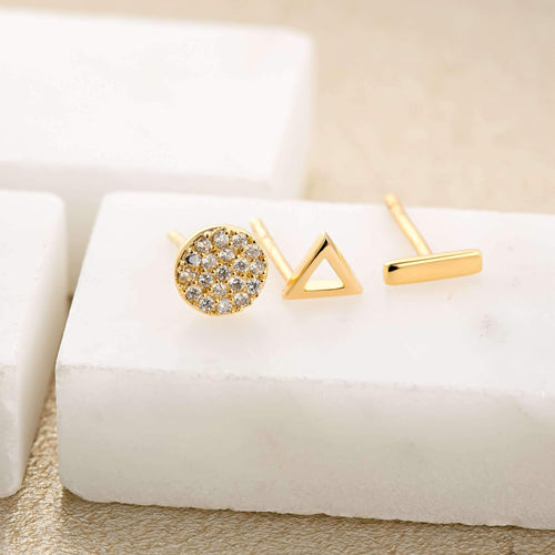 SP Dot Dash Set of 3 Single Stud Earrings