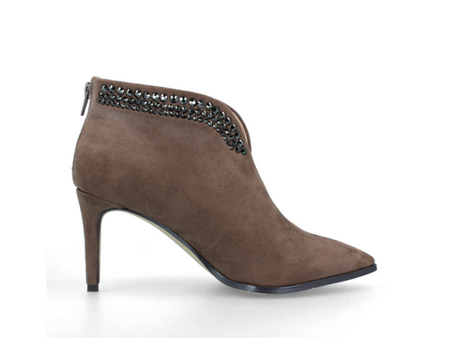 Menbur Taupe Suede Embellished Boot