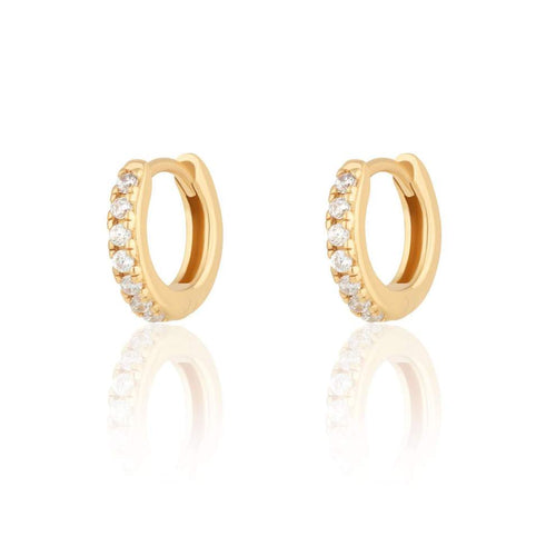 SP Huggie Hoop Earrings with Clear Stones - Gold