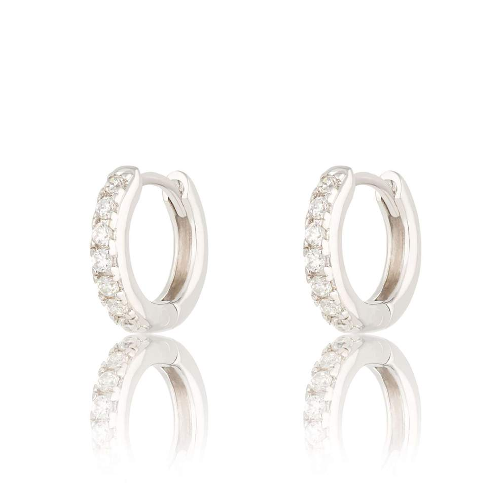 SP Huggie Hoop Earrings with Clear Stones - Sterling Silver