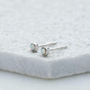 SP Opal Teeny Stud Earrings Silver