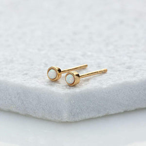 SP Opal Teeny Stud Earrings Gold