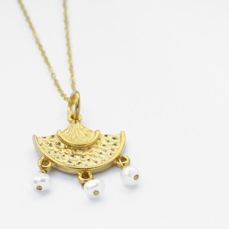 Eos Textured Gold and Pearl Bead Pendant