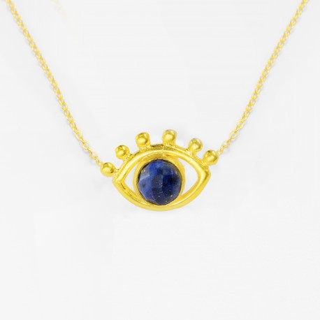Esana Beaded Eye Necklace Lapis