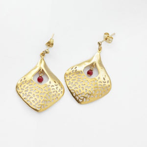 Gulzar Gold Leaf and Red Agate Bead Earrings