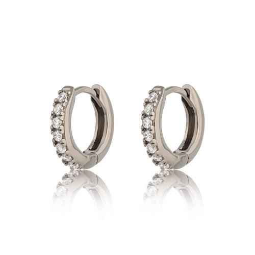 SP Huggie Hoop Earrings with Clear Stones - Gunmetal