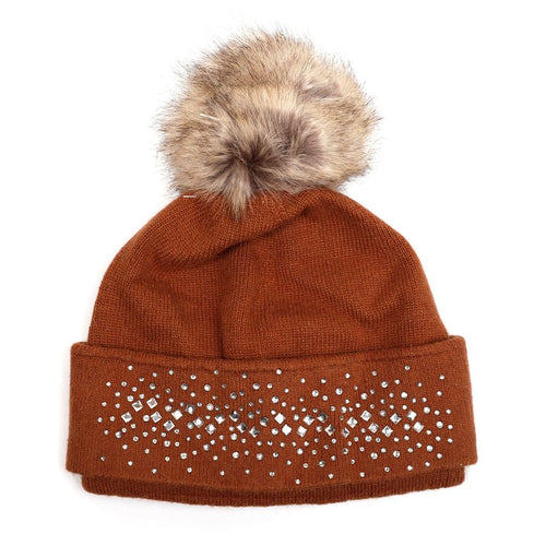 Embellished Hat with Faux Fur Pom Pom