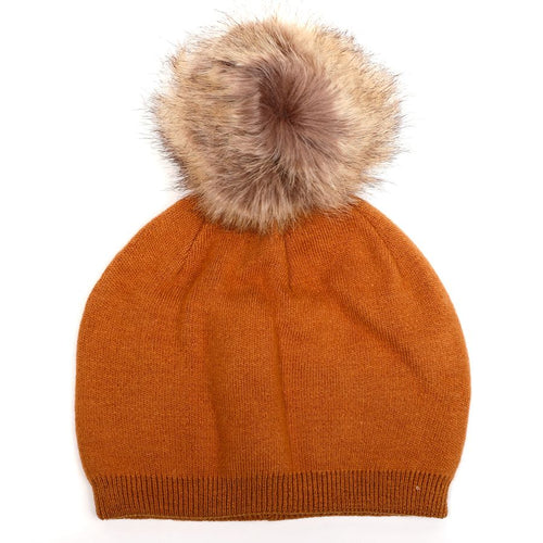 Angora Mix Hat with Faux Fur Pom Pom