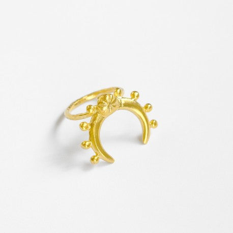 Miray Beaded Moon Crescent Cocktail Ring