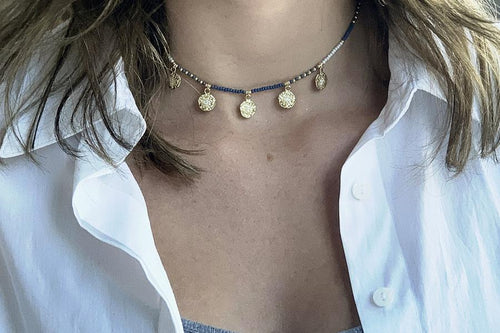 Dinlas Navy Beaded Choker Necklace