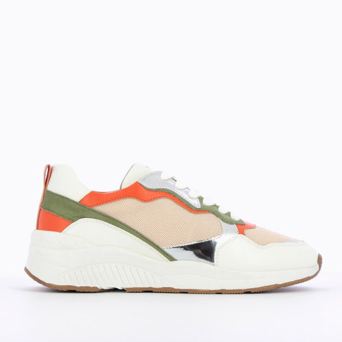 Nude Mesh Sneakers with silver & orange details