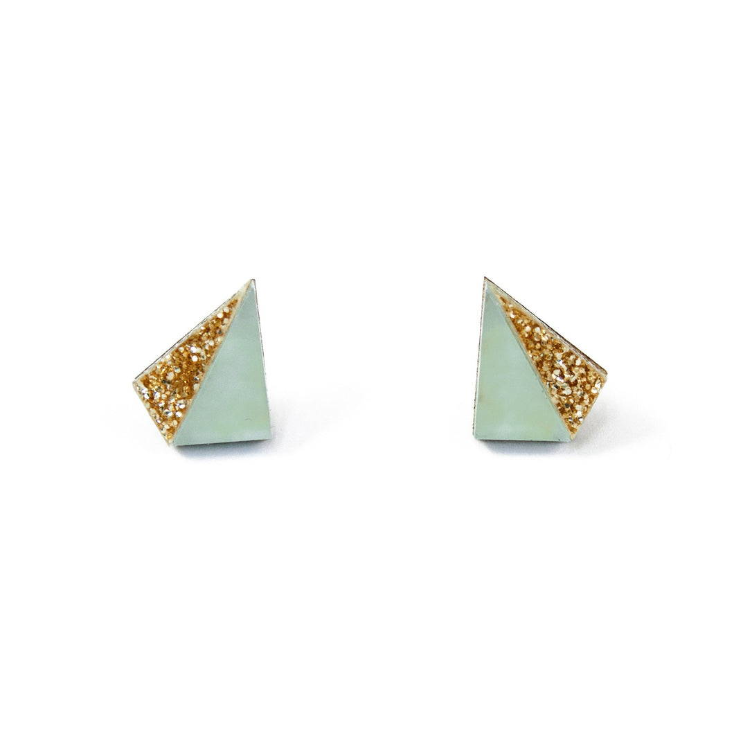 Wolf & Moon Little Pyramid Studs - Pale Blue