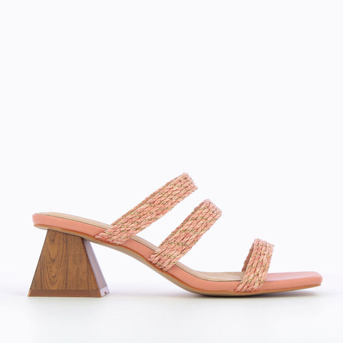 Coral Mules with Wooden Heel