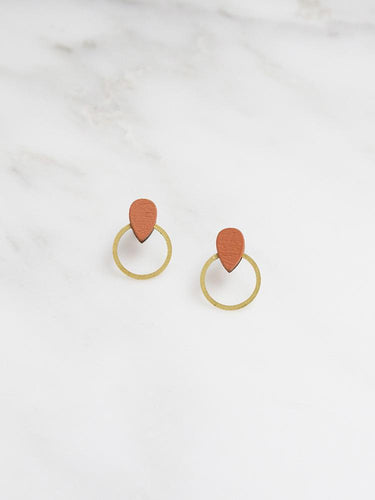 Wolf & Moon Raindrop Hoop Studs in Burnt Orange
