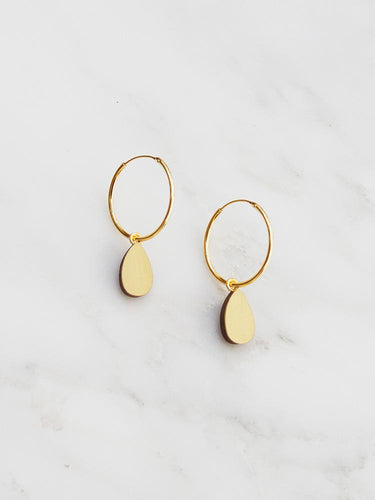 Wolf & Moon Raindrop Hoops Brushed Brass